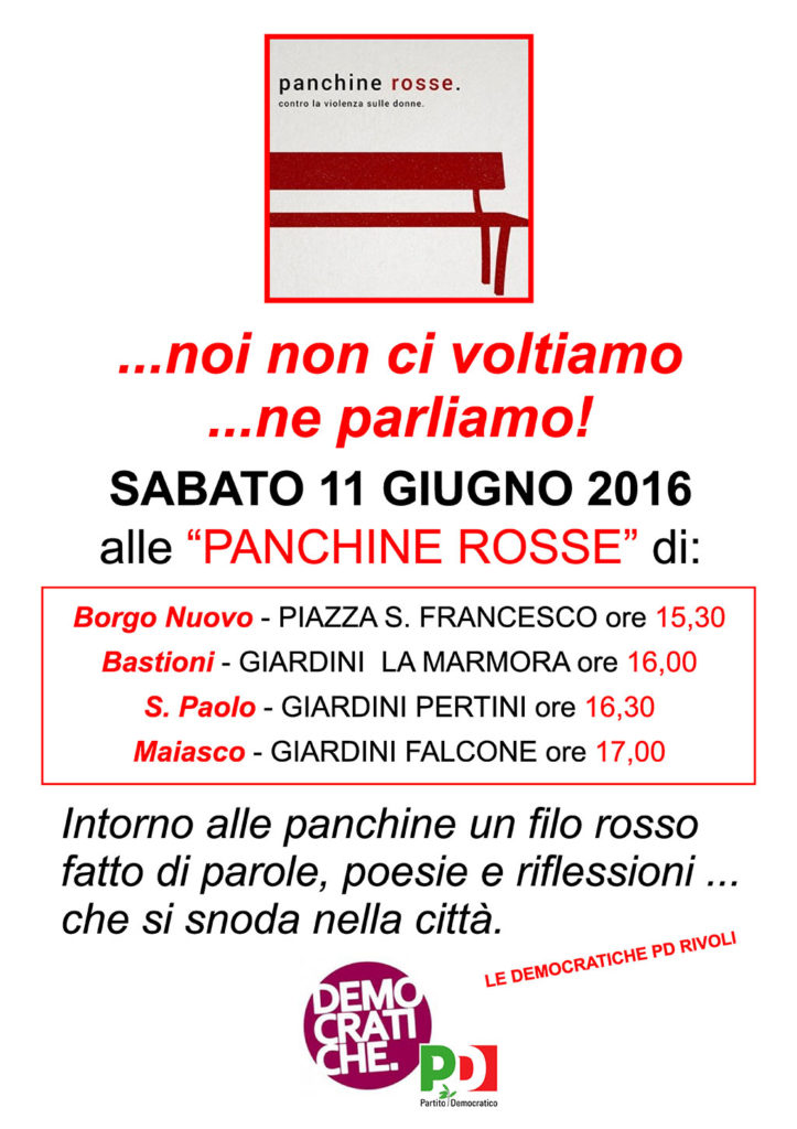 Panchine Rosse a Rivoli - 11 Giugno - Volantino